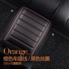 文丰 碳纤维纹 双层可拆卸热熔丝圈皮革大包围脚垫 专车专用 JD25【橙线黑丝圈】