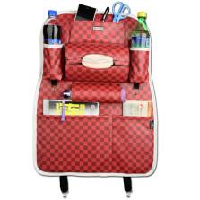 WRC FGZWD 运动格系列 多功能纤皮车用收纳置物椅背袋【方格棕红】