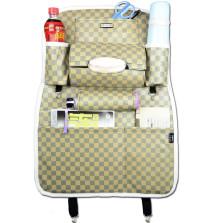 WRC FGZWD 运动格系列 多功能纤皮车用收纳置物椅背袋【方格米色 】