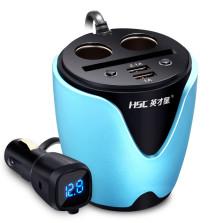 英才星 杯式车载充电器 一拖二点烟器 双usb车充插头 HSC-200-D【宝石蓝】