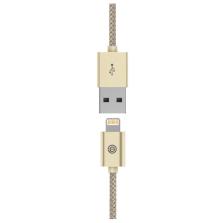 opso欧普索 苹果数据线mfi认证6plus金属尼龙编织线iphone6s/5/5s充电线单头1m防打结【金色】