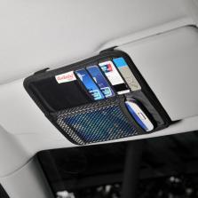 汽车遮阳板收纳袋多功能车载卡包票据夹手机盒车用证件包置物挂袋黑色