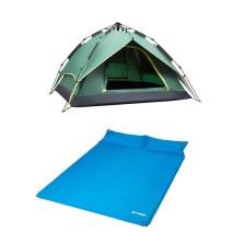 德国TAWA 3-4人全自动拉绳款帐篷+双人气垫床 3-4人户外露营帐篷套餐 (军绿惠享款)160626
