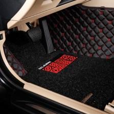尼罗河 双层全包围 皮革丝圈系列专车专用脚垫【红黑色】