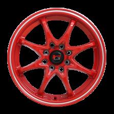【四只套装】丰途/华固  限量版HG2861 红色亮边 15寸 低压铸造轮毂 孔距4X100/4X114.3 ET36