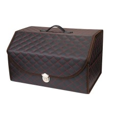 乔氏 格子中号 车载多功能折叠置物箱 汽车后备箱储物箱收纳箱 30*33*51cm【黑红】