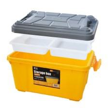 悦卡 汽车收纳箱储物箱 55L车用后备箱整理箱 金刚系列 冲锋黄+透明隔层(YC-1122)