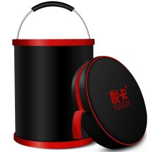悦卡 洗车水桶 多功能户外钓鱼野营桶 含拉链包水桶【11升 红黑色】