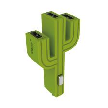 顽卓/VOJO正品仙人掌三USB车载充电器,内置LED,5V/(1A+2.1A+1A) 草绿